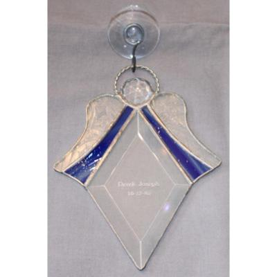 Memorial Stained Glass Engraved Angel